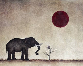 """Art print // Elephant - butterfly - red moon // """"They bring me to you"""""""