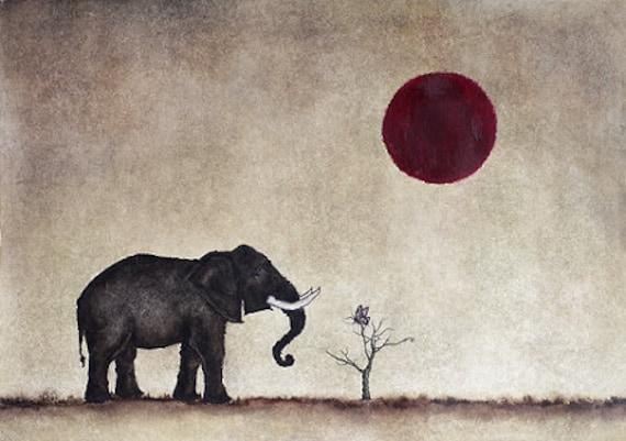 Print. Elefante Mariposa Luna. Me Trajeron a Ti.