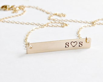Wife Gift, Personalized Bar Necklace,Girlfriend gift,Personalized Name Plate Jewelry, Bridesmaid Gift, Initial necklace