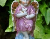 RESERVED FOR LAUREN Early 1900s Porcelain German Angel Statue with Wings and Pink Robes hand-painted and imported from Germany