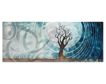 Abstract Tree Art 'Twilight' - Cool Colors - Blue, Silver, Brown Earth Painting - Modern Landscape Design - Full Moon, Trees Silhouette Art