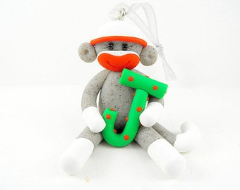 Personalized Sock Monkey Christmas Ornament Polymer Clay