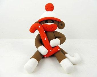 Brown Sock Monkey Birthday 2 inch Cake Topper Polymer Clay