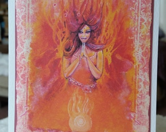 Natural Elements Goddess Pele Fire Greeting and Birthday Card with personal message available