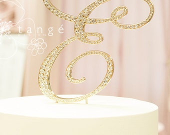 Express Shipping Service, Initial E GOLD Metal Rhinestone Cake Toppers in any Letter A B C D E F G HJ K L M N P Q R S T V W Z cake topper