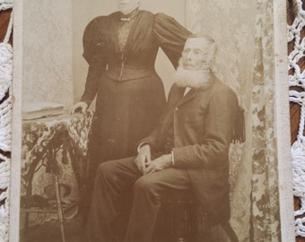 Vintage 1800s Photograph Older Couple 4 X 5 1/2 inches