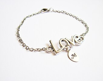 Personalized Love Bracelet with Initials, personalized Bracelet, initial Jewelry, Initial Bracelet, Monogram, Mom Bracelet, tiny leaf charm