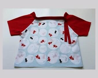 3 to 4 years old tshirt, goldfish Little Girl's Top, japanese fabric, japanese yukata dress, japanese tenugui, kimono dress,