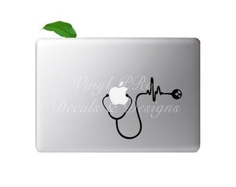 Stethoscope Doctor Nurse Cardiologist Med School Heartbeat RN BSN Healthcare EMT Hospital Decal For Apple Macbook