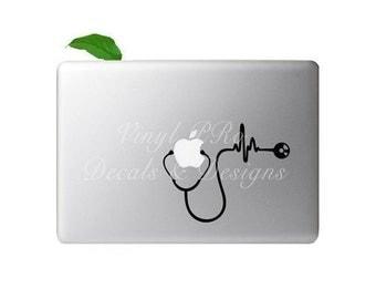 Stethoscope Doctor Nurse Cardiologist Med School Heartbeat RN BSN Healthcare EMT Hospital Decal For Apple Macbook