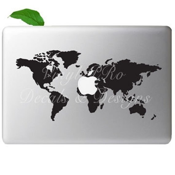 Geography World Map Decal- For Macbook- (specify color when ordering from available colors) One size fits all