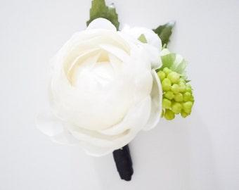 White ranunculus silk flower boutonniere
