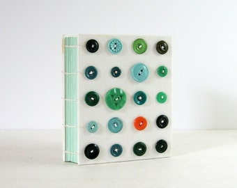 Green Art Journal - Coptic Stitched Journal - Polka Dot Art Book - Vintage Green Button Art 240 Page Journal Sewing Book - Modern Art Decor
