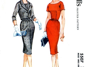 McCall's 5507 Scoop neck sheath wiggle dress with three-gore skirt Three-quarter sleeves jacket Bust 38 Size 18 1960 sewing pattern