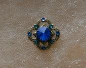 Tribal Bindi hand made with Swarovski crystals and elements  - blue colors, dot bindi
