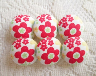 Red colorful Flower Fabric Buttons, Fabric covered button, red sakura Set 6pcs,20mm, size 32 woman, summer, spring, cute ,quilt,  handmade
