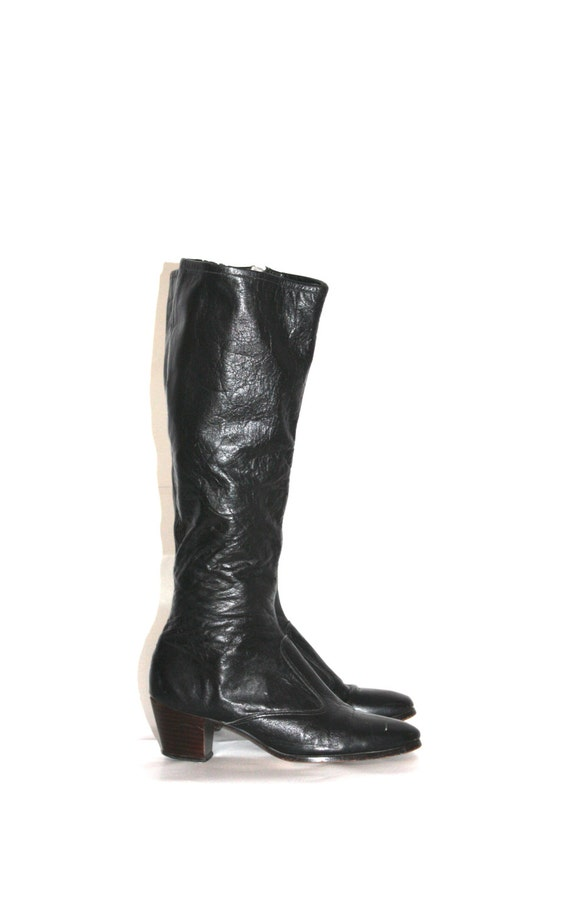 vintage black leather boots size 6 1 2 heels by