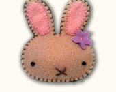 Tan Wool Felt Whimsical Bunny Rabbit Brooch Pin with Flower