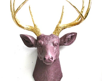 MAUVE -GOLD Faux Taxidermy Deer Head wall mount wall hanging home decor in mauve with gold antlers:  Deerman the Deerhead modern home decor