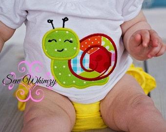 Snail shirt or bodysuit- Snail- Summer snail shirt- Girl's Snail Shirt- Girl's Birthday Shirt- Beach Shirt- Beach vacation shirt- Monogram