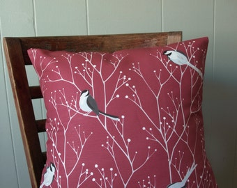 Chickadees with White Berry Branches Printed Pillow in Wine Red and Gray16x16