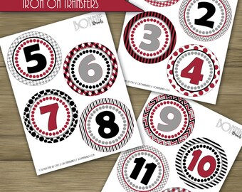 PRINTABLE DIY Monthly Baby Stickers or Iron On Transfers //  Baby Milestone // Alabama // Crimson, Black, Gray // 12 unique patterns