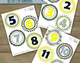 PRINTABLE DIY Monthly Baby Stickers or Iron On Transfers //  Baby Milestone // Baby Boy // Navy, Light Blue, Yellow // 12 unique patterns