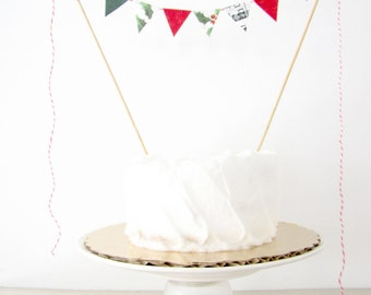 "Winter Cake Topper - Fabric Cake Bunting - Wedding, Birthday Party, Shower Decoration ""Cardinal"" red holly pine green music notes Christmas"