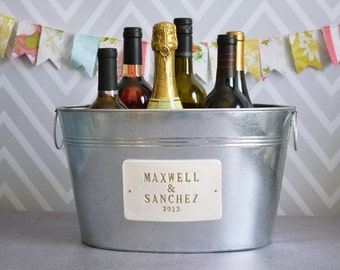 Wedding Gift - Personalized Large Beverage Tub with First Names and Date  in Gold