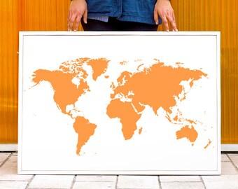Tangerine Poster World Map Print - Personalized Wall Art - Custom Color - World Map Art Print - Wall Decor Hanging -  LARGE - MEDIUM SIZE
