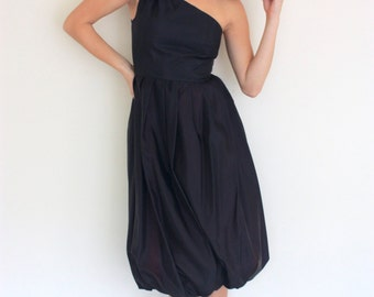 """Vintage """"Metropolitan"""" Formal Black and Purple Asymmetrical Bubble Dress"""