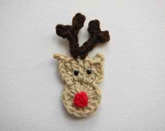 "1pc 3.75"" Crochet RUDOLPH The Reindeer Face Applique"