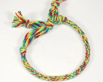 Childrens Bracelet Kumihimo Toddler Cotton Fibre Primary Colors Kids Jewelry