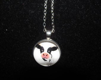 Cow Pendant Necklace or Keychain