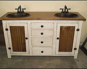 "Double Bathroom Vanity - Copper Sinks  - 60 "" - Bathroom Vanity - Rustic Bathroom Vanity - Farmhouse Bathroom - Bathroom Vanities - Sink"
