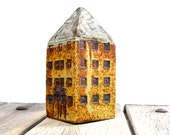Miniature Architecture,Yellow House,Tower House, Ceramic Sculpture,Tall Building