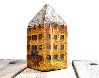 Miniature  House, Yellow Tower House,  Architecture , Ceramic Sculpture,Tall Building