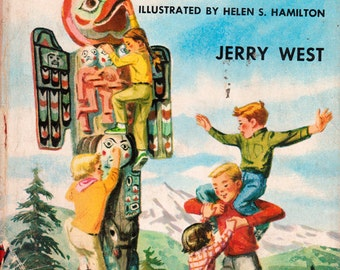 The Happy Hollisters and the Mystery of the Totem Faces by Jerry West, illustrated by Helen S. Hamilton