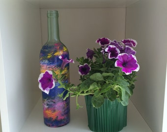 Hand-painted bottle vase