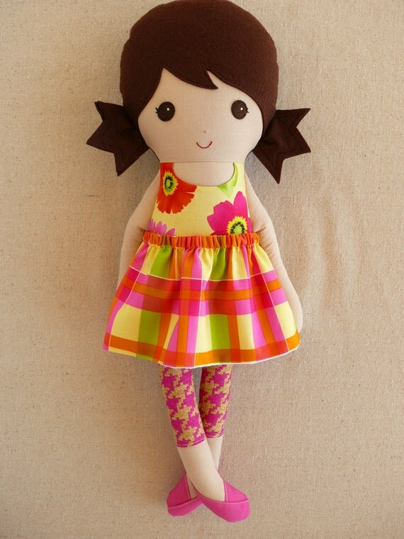 Fabric Doll Rag Doll Brown Haired Girl In Bright Floral Dress