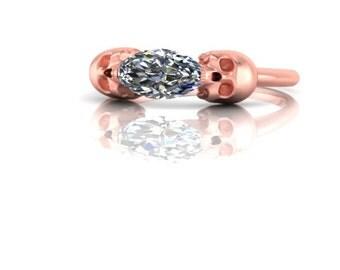 Biting Skulls Half Carat Marquise Diamond Engagement Ring 14K Gold