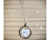 Initials Necklace - Cupid's Heart and Arrow- Original Handcut Paper in Glass with Silver Chain - Papercut Jewelry