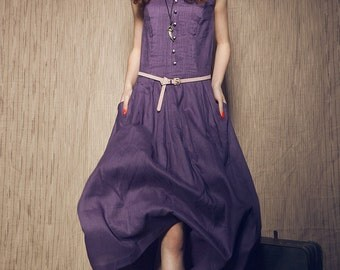 Linen Dress in purple /Tunic Dress, Long linen dress / Maxi Dress / Party Dress / evening dress (Plus Size Dresses, XL XXL Custom)