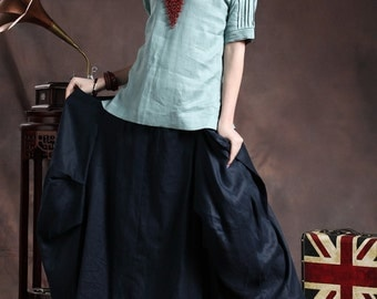 Ruffle Linen Skirt in navy / Maxi Skirt / Formal Skirt