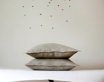 2 Linen pillow covers grey - decorative cases - throw pillows - shams  0071