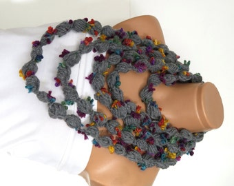 Bubble chain scarf, necklace, infinity scarf, crochet  grey flower lariat scarf for spring