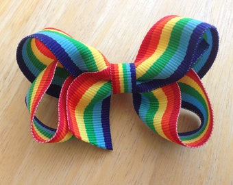 Rainbow hair bow - rainbow bow, rainbow boutique bow, toddler bow, striped hair bow, boutique bows, girls hair bows, girls bows, toddler bow