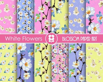 Digital Paper, Digital Scrapbooking Paper Pack, Blossom, Pink, Light Blue, Yellow Flowers - 1715