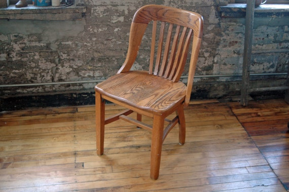 Vintage Wooden Oak Library Chair Bankers Chair Courthouse