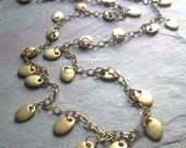 """Long Antique Brass Necklace / Disc / Station / Oval / Chain / Simple / Toggle / Art Deco - 36"""" long - N22"""